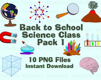 Back to School Science Class Clipart Set - Pack 1 - transparent PNG files - INSTANT DOWNLOAD