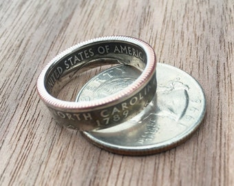 State ring| Coin| dark patina| quarter