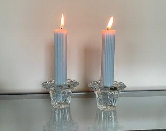 Vintage Borgonovo Flower Candle Holder Set of 2 , 2 Piece Candleholder Set , Mid-Century Home Decor