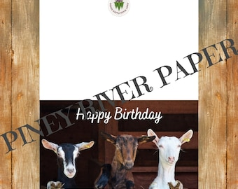 Happy Birthday Goat Card, Digital Downloads, Printable Card