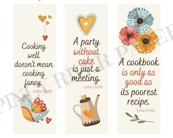 Julia Child Quote Bookmarks, Set of 6, Digital Download, Printable Bookmarks, Julia Child Bookmarks, Cooking Bookmarks