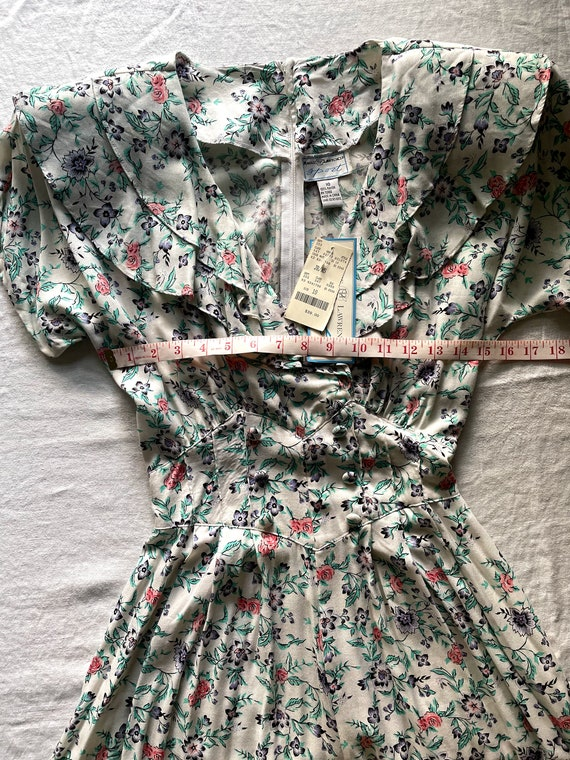 80s Maggie Lawrence Cottagecore Ruffle Front Romp… - image 3