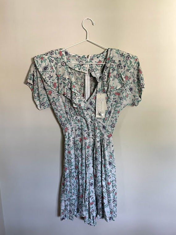 80s Maggie Lawrence Cottagecore Ruffle Front Romp… - image 2