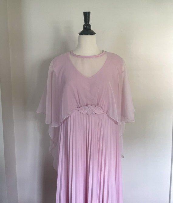 70's Dusty Rose Floaty Maxi Dress with Sheer Cape