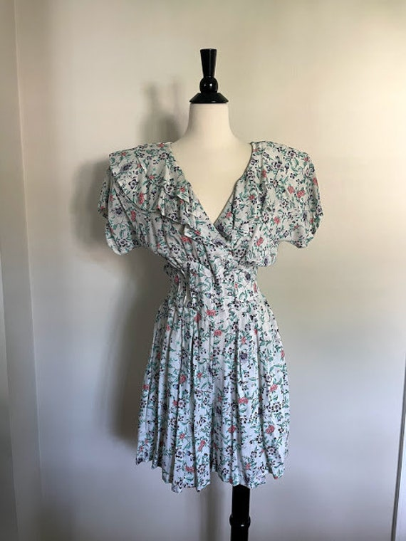 80s Maggie Lawrence Cottagecore Ruffle Front Romp… - image 1