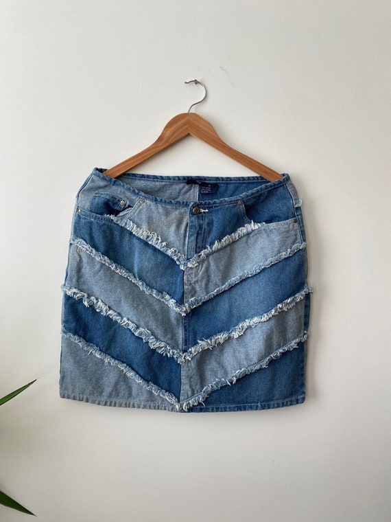 Size L 13 Y2k denim mini skirt, y2k clothes for w… - image 1