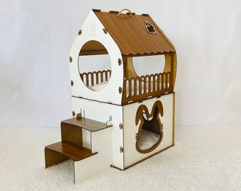 Wooden Rabbit House Up To 7 kg\15 lb, Rabbit Bed, Rabbit Castle, Bunny Bed, For 2 Rabbits, Rabbit Furniture, Rabbit Supplies, Bunny House
