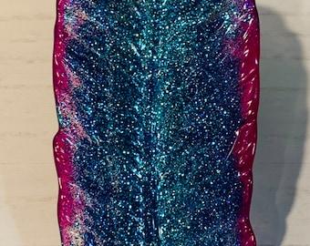 Magenta Sparkle Feather Jewelry Dish