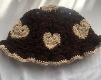 Crochet Heart Bucket Hat\uff5cKnitted Granny Square Hat\uff5cSweet Heart Fuzzy Hat\uff5cCute Funky Hat\uff5cHandmade Fluffy Hat\uff5cDesigned Hat