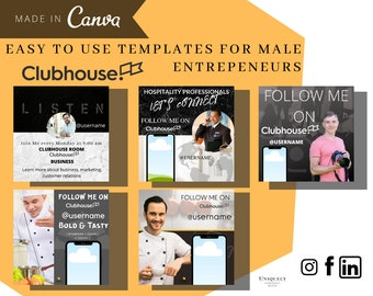 Clubhouse Promo Canva Template - Set of 5 Layouts for Male Business Template