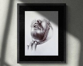 SLAVE   Original Drawing, Shibari Art, BDSM, Rope Bondage Illustration, Fetish, Kinky, Sexy Wall Art, Nude, Tied Man, Portrait.