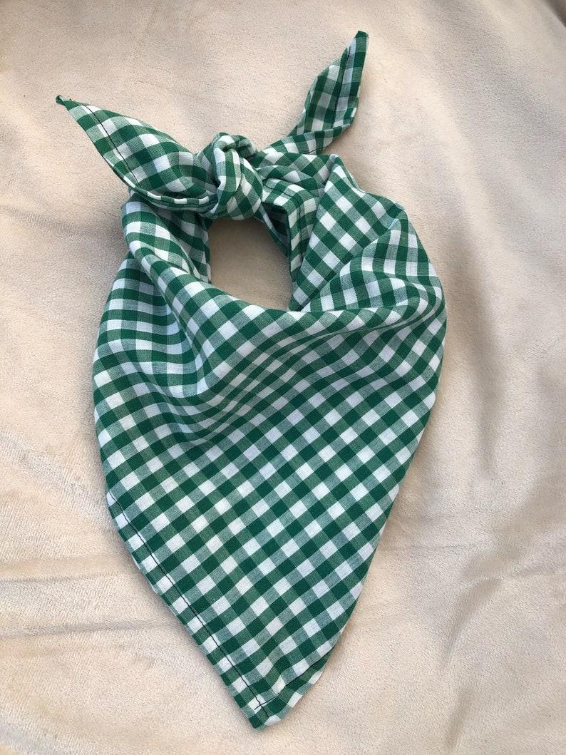 Handmade Green and White Checkered  Dog Bandana