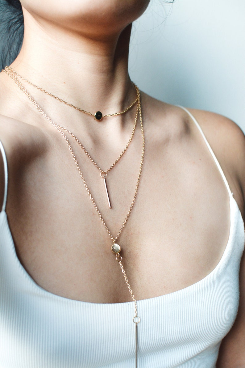 Long Multilayer Pendant Gold Necklace | Featuring Circle + Bar Pendants | Everyday jewellery | Minimalist + Dainty