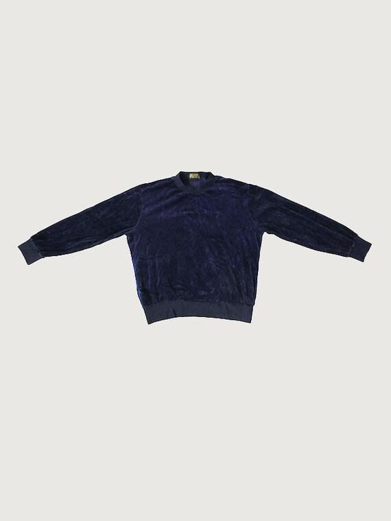 Vintage Dark Blue Velvet Jumper