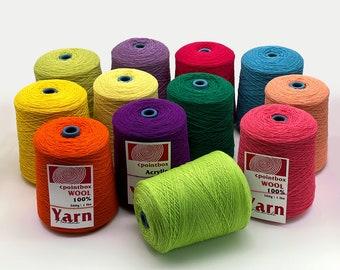 200g \ 0.45 lb 100% Wool Yarn Cones for Tufting gun,Rug Merino Yarns , 62 Color Tufting Yarns Handmade Weaving Crochet Knitting