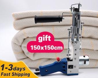 Kit \ Cut Pile Tufting Gun + 150x150cm Monks Cloth With Yellow\Green Guidelines Set \ Tufting Machine Set