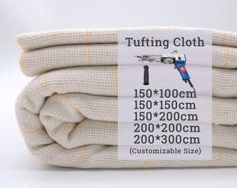 60 In\1.6 Yard\150cm Tufting Cloth, Monks Cloth With Yellow Guidelines For Tufting Gun Tufting Fabric