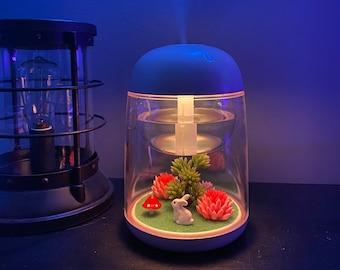 Cute Pink Mini Portable Transparent Micro-landscape Diffuser with LEDs