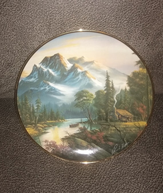 Franklin Mint Heirloom / Mountain Retreat / Ron Huff / 1992 / Landscape Series / Fine Porcelain / Limited Edition plates / Estate Collection