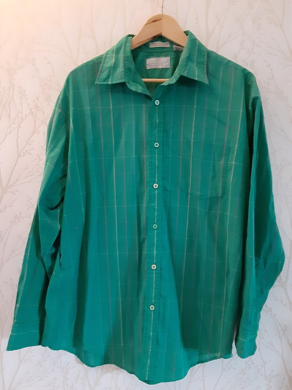 Vintage 80s green button up