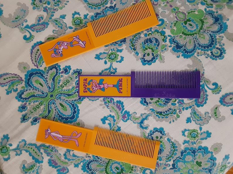 Set of 3 pink panther combs