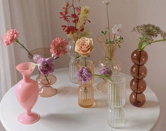 Glass Nordic Glass Small Vases Flower Arrangements Decoration Art Nordic Interior Decor Design different styles and shapes