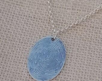 Fingerprint necklace silver charm Jules Read Australia