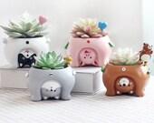 Adorable Animal Inspired Ceramic Plant Pots Succulent Cacti Planter Cute Upside Down Zoo Animal Flower Pots Garden Desktop Living Room