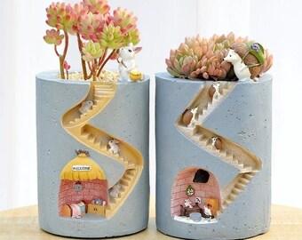 Handcrafted Mini Flower Garden Plant Pot/ Ceramic Succulent Cacti Miniature Planter/ Outside Inside Garden Decorative Staircase Hideaway Hut