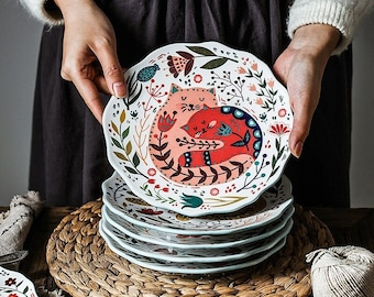 Nordic Inspired Hand Painted Ceramic Plates/ Cute Cat Art Design/ Creative Cartoon Colourful Tableware Kitchenware Dinnerware/ BBQ party
