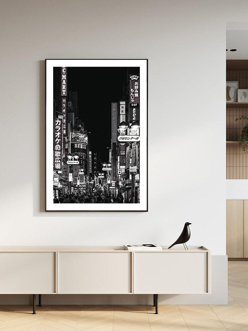 Shibuya Japan Tokyo Urban city night view cyber punk landscape Black and White Photography Asia prints Wall Art Prints Poster Room Decor