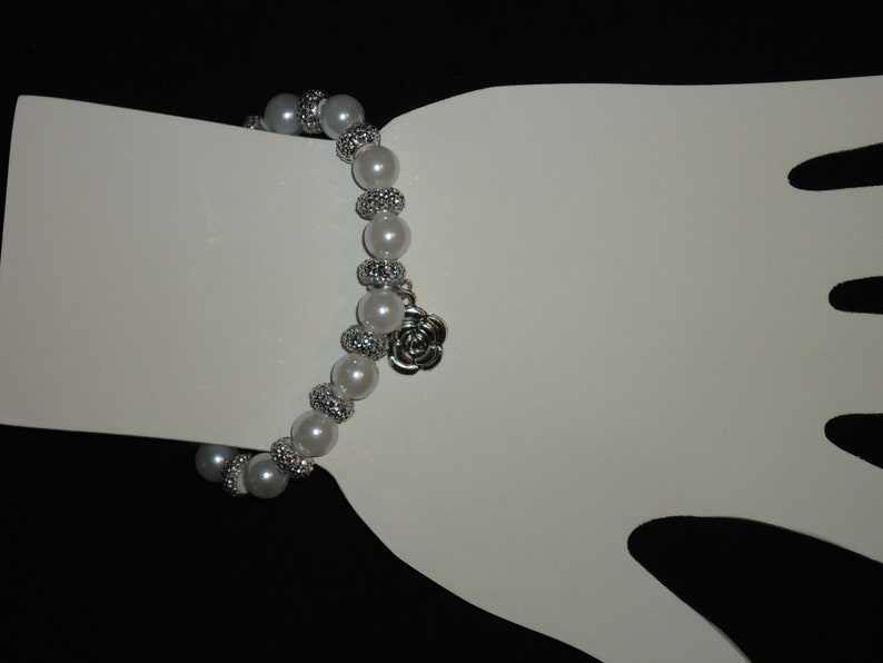 White Pearl Stretch Bracelet with Rose Charm