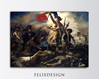 Eugene Delacroix - Liberty Leading the People (1830) - Reproduction of a Classic Painting Libertarian Freedom Photo Poster Print Art Gift