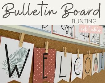 BOHO VIBES Bulletin Board Banners | Neutral Classroom Bunting | Editable | Desert Neutral Classroom Decor