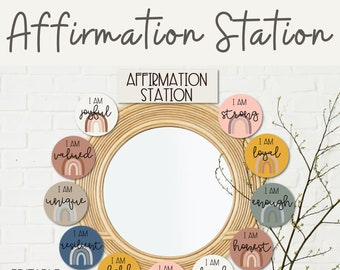 BOHO RAINBOW Affirmation Station | Positive Affirmations Mirror Display | Neutral Rainbow Classroom Decor | EDITABLE!