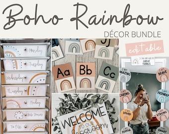 BOHO RAINBOW Classroom Decor Bundle | Editable | Neutral Rainbow Classroom Decor