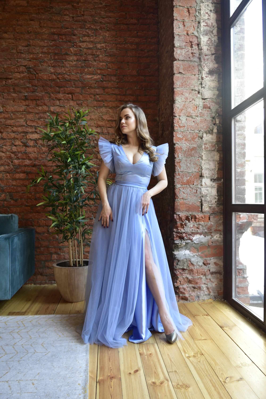 2021Prom Kleider lange blaue Rose Abendkleider mit Schlitz