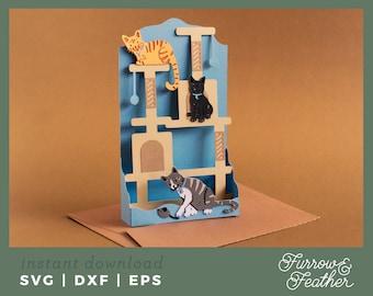 Cat Tree Pop Up Box Card Template   3D Papercut SVG Card Cut File   Cricut Silhouette DIY