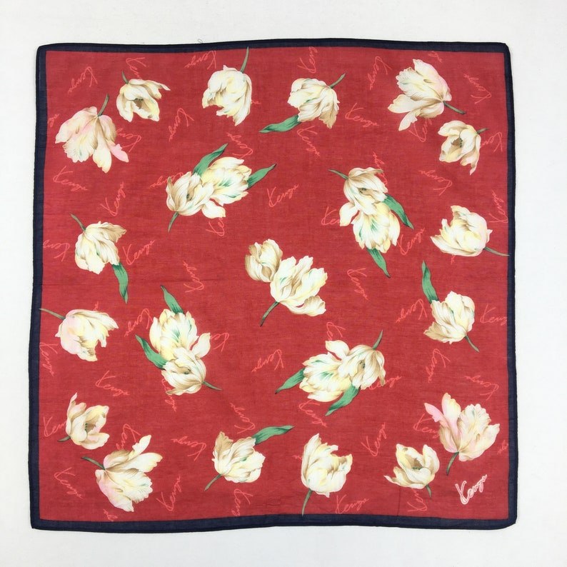 Kenzo Handkerchief Neckerchief Bandana Wrap Shawl Vintage Accessories Luxury Gift Authentic Legit Babushka Summer Scarves Mini Kerchief