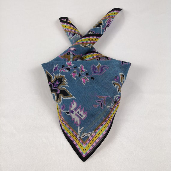 VINTAGE KENZO HANDKERCHIEF Authentic Hair Silk Bandana Luxury Pocket Square Accessories Face Mask Neckwear Summer Headband
