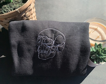 Skull Crewneck, Spooky Sweatshirt, Halloween, Goth Clothes, Skeleton Sweatshirt, Line Art Hoodie