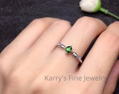Natural Tsavorite Ring 925 Sterling Silver Tsavorite Oval cut ring Size 5x3 mm Oval Wedding Ring Valentine Gift For Her