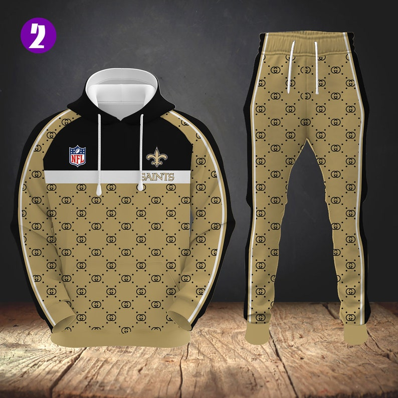 ND026 New Orleans Saints Casual Tracksuit Sportswear Sets Patchwork Hoodies Sweatshirt and Sweatpant  Set Spring Autumn Jogger Set