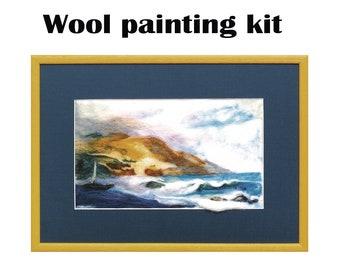 Needle felting seascape kit, Wool painting kit, Painting With Wool, Felting DIY Crafts, felted wool landscape kits