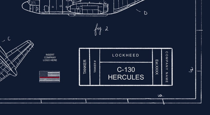Customizable C-130 Hercules Blueprint Illustration