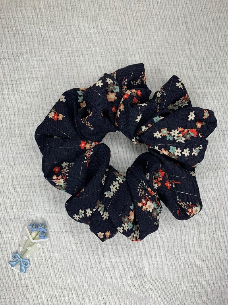 Gold thread floral navy scrunchies Handmade Scrunchies
