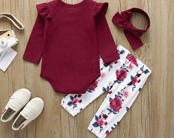 Newborn Coming Home Outfit Burgundy Velvet Leggings and Top Knot Headband Set Baby Girl Clothes Preemie Christmas