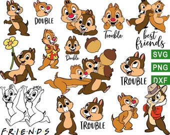 Chip and Dale svg, Mickey svg, Disney svg, Chip and dale png, Chip svg, Dale svg, chip dale rangers svg, for cricut, Silhouette, svg dxf png