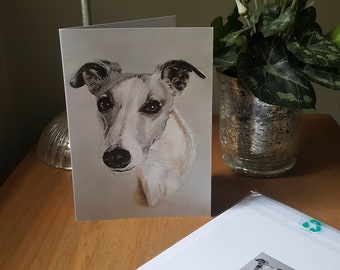 Whippet Greetings card, whippet blank card, whippet birthday card, whippet dog card, original art card, card for him, card for her