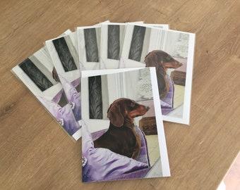 Multi pack of 6 Dachshund Greetings card, Dachshund card for girlfriend, Dachshund card for boyfriend, Dachshund lovers birthday card